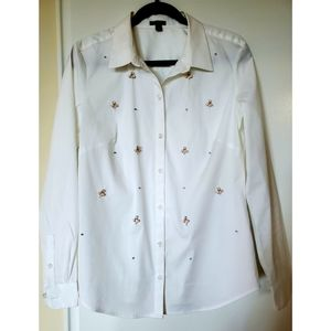 Ann Taylor Embroidered stones button down shirt